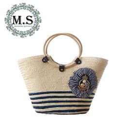 soft weave beach bag 2019 - M.S Insignia Striped Sailor Straw Bags Casual Patchwork Beach Woven Top-Handle Hobos Bag 2018 Summer Fashion Big Handbag