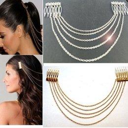 Discount hair comb manufacturers - European hair accessories punk headwear long metal tassel chain hair comb manufacturers wholesale