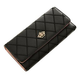 China Hot sale new fashion high capacity women wallets metal crown lady long clutch wallet female PU leather flip up card holder purse cheap zipper style crown wallet suppliers