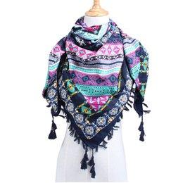Pashmina square scarves online shopping - Women Large Square Scarf Wrap Cotton Linen Retro Geometric Beach Shawl Tassel Summer Female Stoles Totem Magic Scarves Fashion qj bb