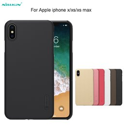 red shield screen protector 2019 - For iPhone XS XR XS MAX Case NILLKIN Super Frosted Shield hard back cover case For Apple iPhone X  7 8 plus + screen pro