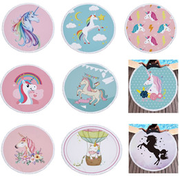 beach blankets 2019 - 150cm Unicorns Beach Towel Round Tassel Summer Travel Picnic Blanket Beach Cover Swimming Yoga Shawl Mat HH7-1063 cheap