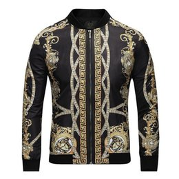 wallpaper panels 2019 - High End Men Designer Outfits Jackets Outwear Man Fashion Casual Zipper Coat Wallpaper Printing