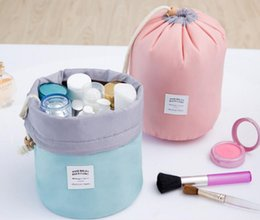 New casual bag fashioN online shopping - 2018 New Korean large Capacity Barrel Shaped Travel Cosmetic Makeup Bag Nylon Elegant Drum Wash Bags Organizer Storage Bags Dropshipping