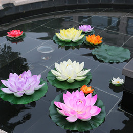 Photos lotus online shopping - 10cm Artificial Lotus Leaf Manual PU Bud Type Fake Pond Flowers Floating Water Romantic Wedding Home Party Decoration Photo Props zx YY