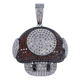Chinese  Factory Bottom Price Hip Hop Robot Necklace Jewelry Colored CZ Iced Out Mushroom Pendants Necklaces Bijoux Women Fashion Party Accessory manufacturers