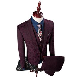 China 3 Pieces Slim Fit Suits Men 2018 Blazer+Vest+Pants Fashion Mens Suits floral Print Party Costume Homme Wedding Dress suit cheap classic wedding men dresses suppliers