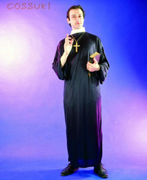 Discount free adult tv - Free Shipping! Newest! Halloween Adult Men Cool Missionary Black Robe Cosplay Costume For Stage Performance Or Masquerad