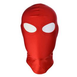 Red black bondage hood online shopping - 2018 BDSM Bondage Leather Hood for Adult Play Games Full Masks Fetish Face Locking Blindfold for Sex