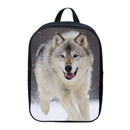Discount small child fashion boy - 2017 Fashion Oxford 12 Inches Printing Animal Gray Wolf Children School Bags for Baby Boys Small Backpacks for Kids Scho