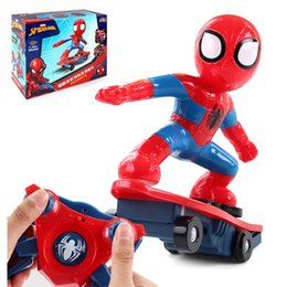ElEctric scootEr kids online shopping - Never Fall Down RC Skateboard Spiderman Scooter Genuine Light Sound Toys Flash Cool Electronic Electric Toy For Kids toys Gift Party