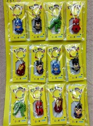 Discount spiderman batman toy avengers - The Avengers Figures phone Keychain Batman Superman Iron Man Thor Spiderman Captain America PVC Toys Pendants Cartoon Ke
