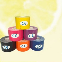 Elastic tapE sport online shopping - Adhesive Muscle Sports Tape Waterproof Breathable Kinesiology Kinesio Roll Bandage Colorful Cotton Elastic Tapes Hot Sale md3 B