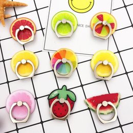 Discount fruit mobile phone - Metal ring buckle mobile phone lazy bracket Car holder Fruit lemon High-grade acrylic friuit lenon stand