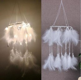 White feather pendant light online shopping - New Creative White Round Dream Catcher Feather Handmade Exquisite Dreamcatcher With String Light Wall Pendant Novelty Items CCA10387