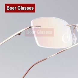 Rimless eyeglass fRames wholesale online shopping - Stainless Steel Male Eyeglasses light weight Men Frames Rimless Glasses Myopia Spectacle Optical Prescription