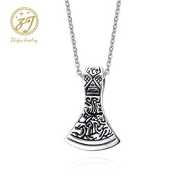 pendant ax 2019 - Zhijia 316L Stainless steel Ax Pendant For Men Woman Necklace New Fashion Design Jewelry Retro Viking Personality Free S