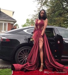 Wholesale 2018 Burgundy Sexy Black Girls Prom Dresses Halter Sheer Neck Long Sleeves Floor Length Backless Formal Dresses Evening Prom Party Gowns