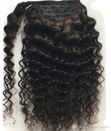 wrap around pony 2019 - Wraps around wet and wavy ponytail hairpiece clip in deep wave drawstring pony tail african american ponytails 4colors c
