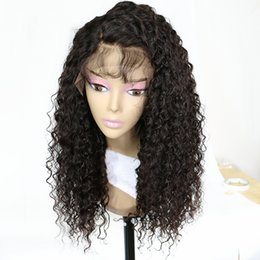 Discount dark black hair - 150% Density Natural Curly Lace Wig Remy Brazilian Lace Front Human Hair Wigs For Women Black Color Bleached With Baby H
