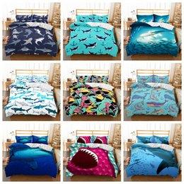 Duvet quilts online shopping - 9styles Shark cartoon Printed Kids Bedding Set Duvet Cover Quilt Cover Pillowcase Bedding Supplies set FFA680