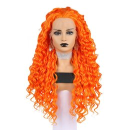 Discount orange curly hair - Best Synthetic Curly Wigs Long Orange Glueless Curly Synthetic Hair Heat Resistant Synthetic Lace Front Wigs For White W