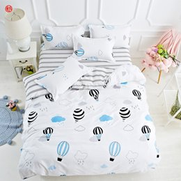 bedding side 2019 - Home textile sunflower bedding set feather fish AB side duvet cover bed sheet queen Autumn bedding adult grid bed set fi
