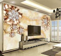 Discount wallpaper panels - Wall Panel 3D Wallpaper Marble Diamond Jewelry Background Modern Europe Art Mural for Living Room Large Painting Home