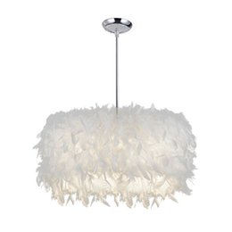 Chinese  Modern Feather Pendant Light E27 white pendant lamp hanging lamps Droplight for Parlor master Bedroom art home lighting E101 manufacturers