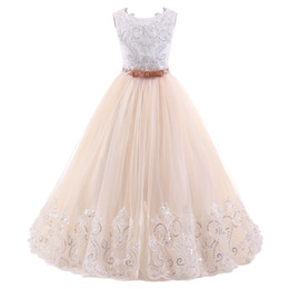 Chinese  Flower Girl Dresses for Wedding Blush Pink Princess Tutu Sequined Appliqued Lace Bow 2018 Vintage Child First Communion Dress Custom Made manufacturers