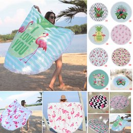 beach blankets 2019 - 11 Colors 150*150cm Round Flamingo Beach Towel Polyester Tassels Picnic Blanket Summer Swimming Bath Towels Shawl Yoga M