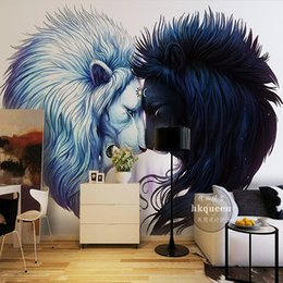 Discount backgrounds photo 3d - 3D photo wallpaper Personality style abstract lion head wallpaper TV background wall bedroom sofa restaurant mural