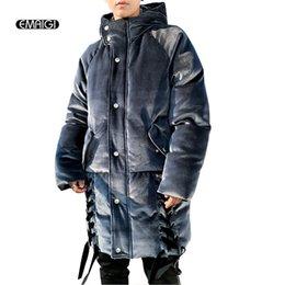ribbon xl 2019 - Flannel Winter Jacket Men Street Fashion Hip Hop Hooded Parkas Jacket Overcoat Male Women Casual Loose Long Thicken Coat