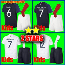 Red shoRts boys online shopping - Two stars GRIEZMANN MBAPPE Kids kit soccer jersey boys child world cup POGBA UMTITI LACAZETTE football shirt uniforms maillot de foot