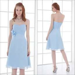 Chiffon sweetheart knee length wedding dress online shopping - Strapless Chiffon Short Bridesmaid Dresses Light Sky Blue Ruched Knee Length Empire Formal Wedding Guest Maid Of Honor Dresses ZPT059
