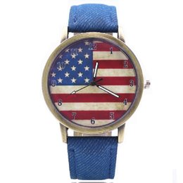Round unisex antique watches online shopping - Retro Bronze American flag watch Canvas student casual watches Men women leather fashion cowboy quartz wrist watches