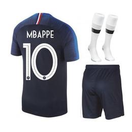 Discount gold cup socks - 2018 World Cup Champion suit Blue 2 Stars MBAPPE Soccer Sets POGBA GRIEZMANN Soccer Jersey + Socks Football uniform kits