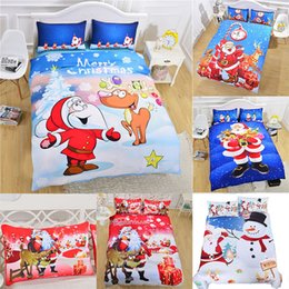 Pink duvets online shopping - 3D Printed Christmas Bedding Sets set Duvet Cover Pillowcases Santa Claus Snowman Christmas Decoration Xmas Gift style WX9