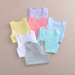 cheap branded kids clothes 2019 - Cheap Tank Top Vest Solid Color baby Girl boy clothes Child Vest Summer Child Color Unisex Tops Tees Baby Kids Clothing