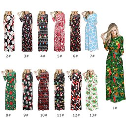 Ankle length cAsuAl winter dresses online shopping - 13 Styles Womens Dresses Round Neck Print Long Skirt Ladies Casual Christmas Costume For The Festival Cloth Female Dresses