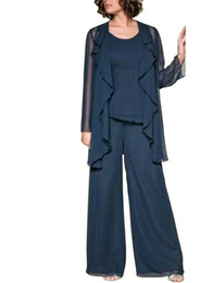 Chinese  Newest Chiffon Lady Mother Pants Suits With Jacket Evening Dress Party Mother Of The Bride Dress pant Suit Gowns Formal Party Brown Custom manufacturers