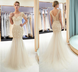 Wholesale New Designer Sexy Gold Gray Mermaid Prom Dresses Beads Crystals Bling Bling V Back Sheer Neck Tiered Tulle Floor Length Evening Gowns
