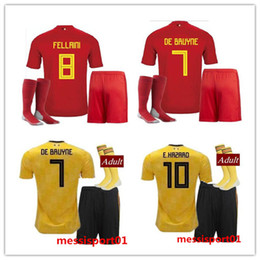 Discount gold cup socks - Belgium Soccer Jersey +SOCKS 2018 World Cup LUKAKU FELLAINI E.HAZARD DE BRUYNE Adult suits 18 Belgium football FULL kits