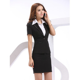 Discount women s summer business suits - New 2018 Summer Formal Ladies Skirt Suits for Women Business Suits Blazer Coat and Skirt Sets Female Office Uniform Styl