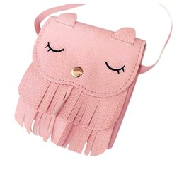 Discount small child fashion boy - Fashion Boutique Kawaii Children Girls Tassel Small Cat Shoulder Messenger Bag Mini Coin Purses PU Leather Handbags Pink