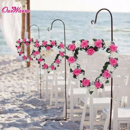 flower shaped decoration rose 2019 - Heart Shaped Rose Wreath Hanging Wreaths Flowers Garland With Silk Ribbon For Home Door Wall Decor Wedding Car Decoratio