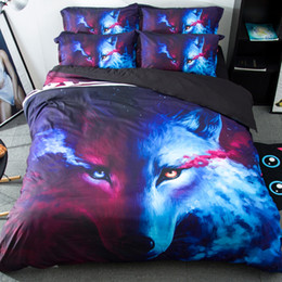 Discount printed sheets - 3D Cool Wolf Animal Pattern Duvet Cover Pillow Case Man Sheet Bedding Sets Home Supplies Art Print Bed Clothes 179kq KK