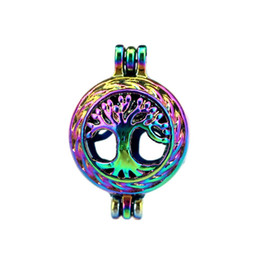 pearl tree life 2019 - 10pcs lot Rainbow Color Tree of Life Pearl Cage Beads Cage Locket Pendant Diffuser Aromatherapy Perfume Essential Oils D