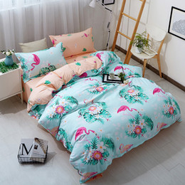 Pink duvets online shopping - Wewish Pink Flamingo blue Duvet Cover Set Animal Printed Bird Bedding Set full queen King Cute Girls Bed Cover Bedspread
