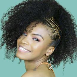 human hair afro kinky drawstring ponytail 2019 - 100% Natural human hair ponytail afro kinky curly drawstring ponytail extensions, brazilian virgin hair pony tail afro k